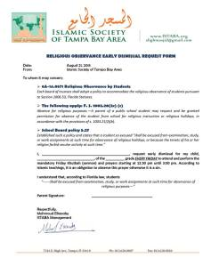 Muslim Early Dismissal Form